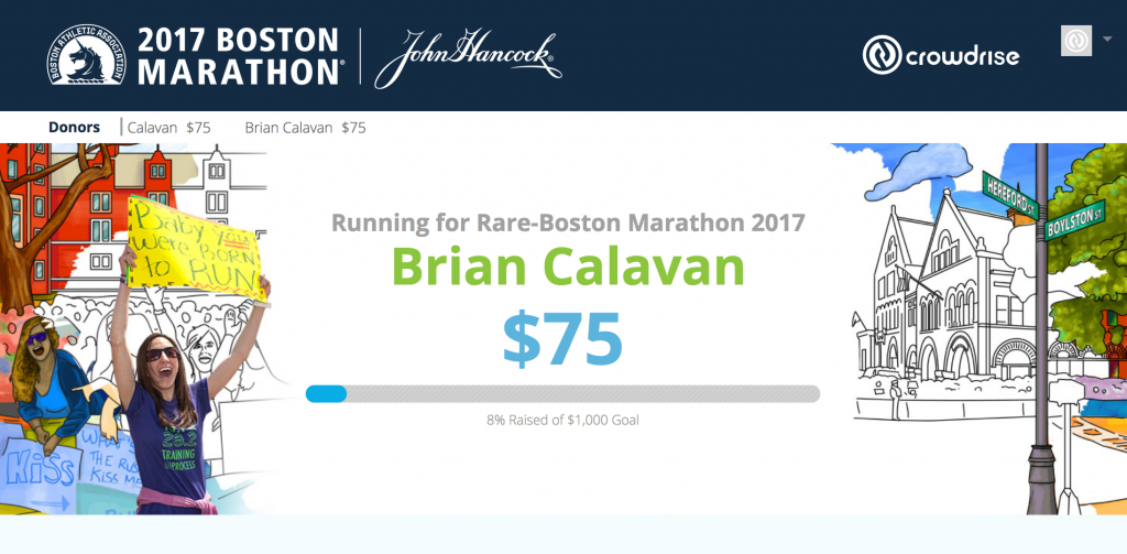 running for rare at the boston marathon